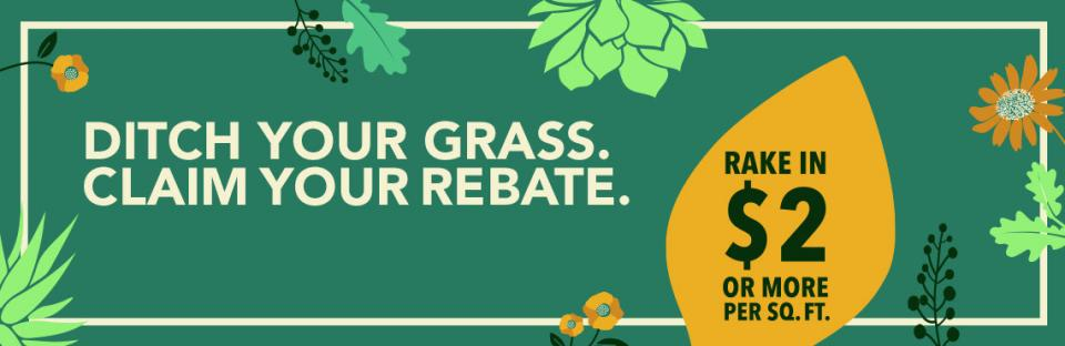 Ditch your grass. Claim your rebate. Rake in $2 or more per square foot.