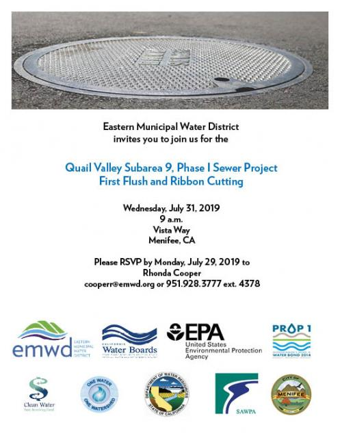 Invite for Quail Valley subarea 9, phase 1 sewer project first flush and ribbon cutting on July 31, 2019.