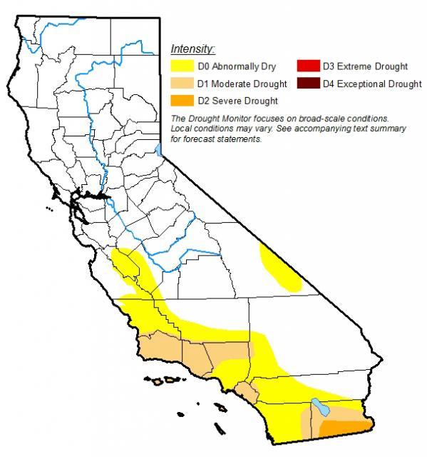 2017 map showing southern part of California ranging from abnormally dry to moderate drought. With the southeastern area, on Mexico border, is in a severe drought.