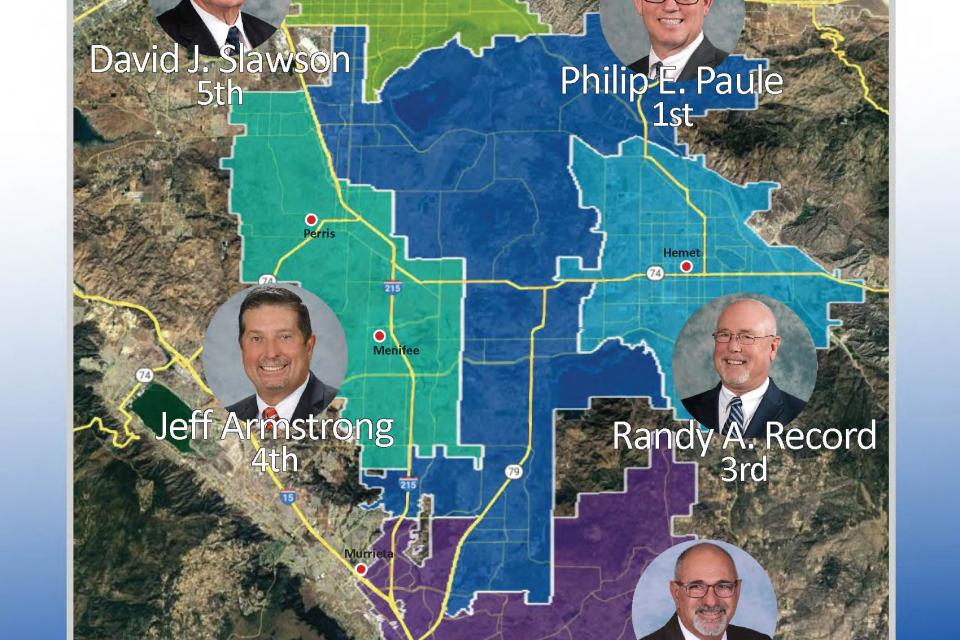 EMWD director division map. 1 Philip E. Paule; 2 Stephen J. Corona; 3. Randy A. Record; 4. Jeff Armstrong  ; 5; David J. Slawson.