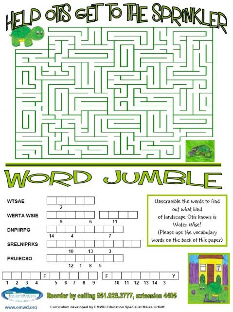 Maze and word jumble.