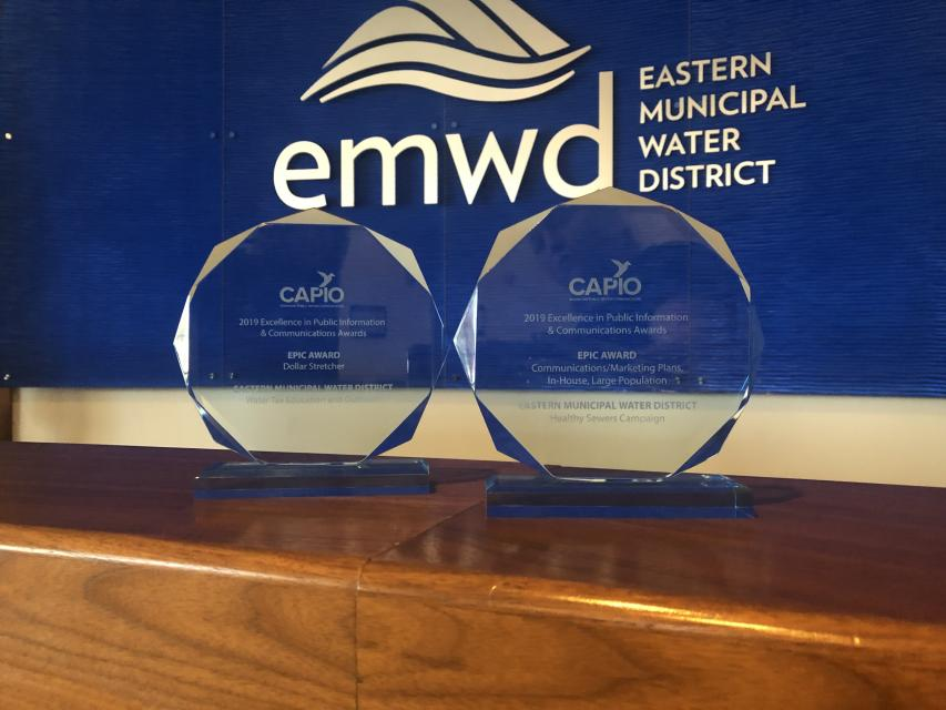 EMWD award for outstanding customer communications.
