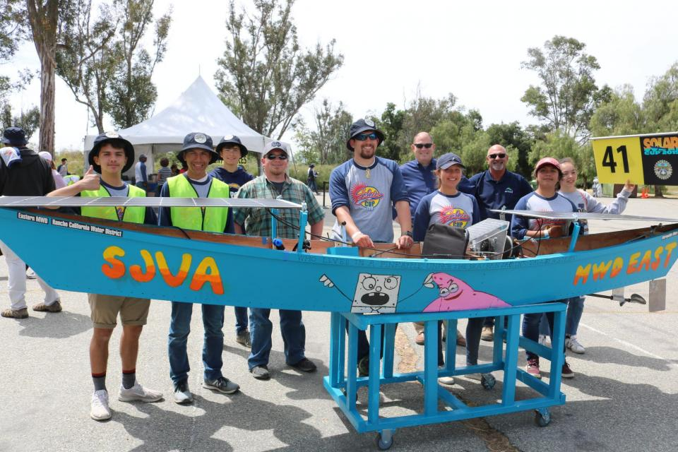 San Jacinto Valley Academy shows off their boat for Solar Cup 2019.